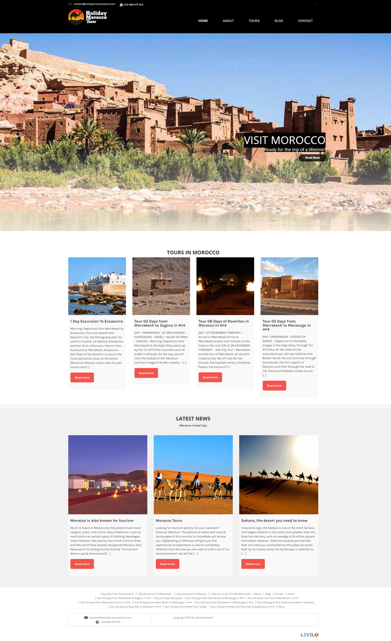 Layout do site Holiday Morocco Tours